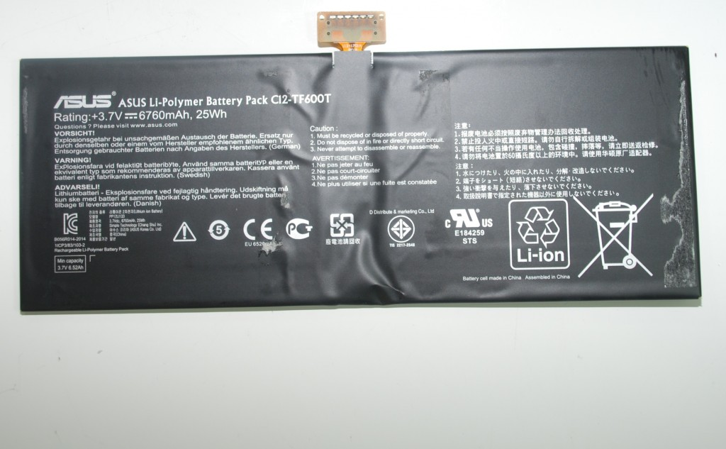 Genuine Asus TF600T 3.7V 25wh 6760mAh Tablet Battery C12-TF600T TF6PSG3 TESTED